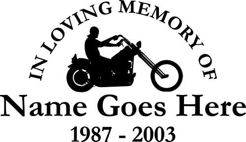 In Loving Memory Of Motorcycle Cruiser Memorial Vinyl Window - Window decals in memory of