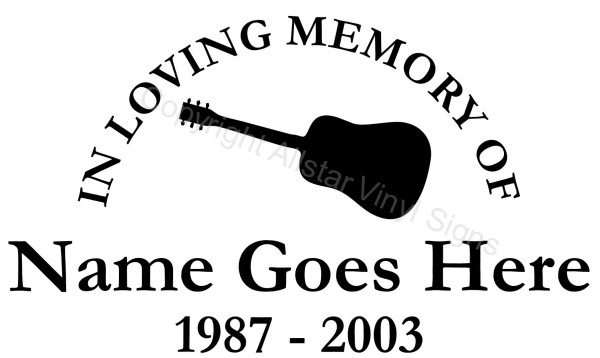 In Loving Memory Of Guitar Memorial Car Stickers Vinyl - Window decals in memory of