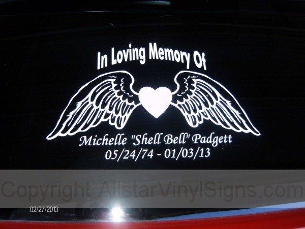 In Loving Memory Of Angel Wings Memorial Car Stickers In - Window decals in memory of