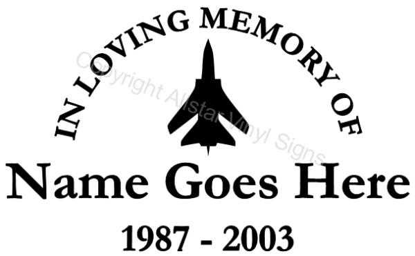 Aviation Memorial Vinyl Window Decals In Loving Memory Of Plane - Window decals in memory of