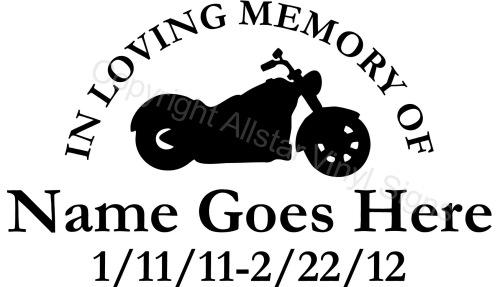 In Loving Memory Of Motorcycle Memorial Vinyl Window Decals - Window decals in memory of