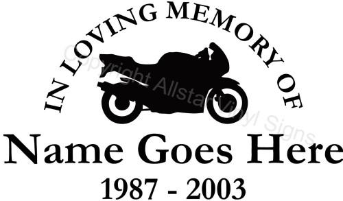 In Loving Memory Of Motorcycle Sport Memorial Vinyl Window - Window decals in memory of