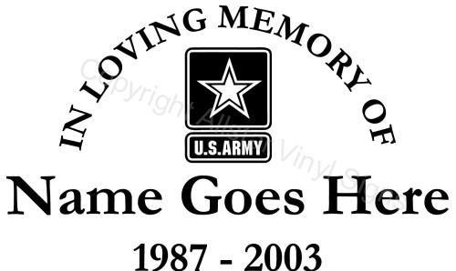 In Loving Memory Of US Army Military Memorial Vinyl Window - Window decals in memory of