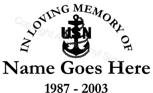 In Loving Memory Of US Navy Military Memorial Vinyl Window - Window decals in memory of
