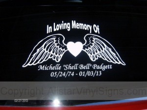 Bulk Discounts For Memorial Window Decals Vinyl Lettering - Vinyl window clings for cars