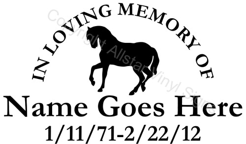 In Loving Memory Of Horse Bowing Country Western Memorial - Window decals in memory of