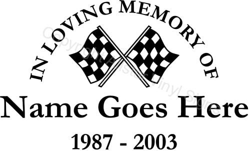 Racing Memorial Vinyl Window Decals In Loving Memory Of Car - Window decals in memory of