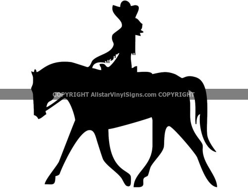 Cowgirl Silhouette Rodeo Car Stickers Vinyl Window And