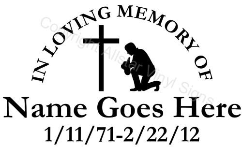 Religious Memorial Vinyl Window Decals In Loving Memory Of Car - Window decals in memory of