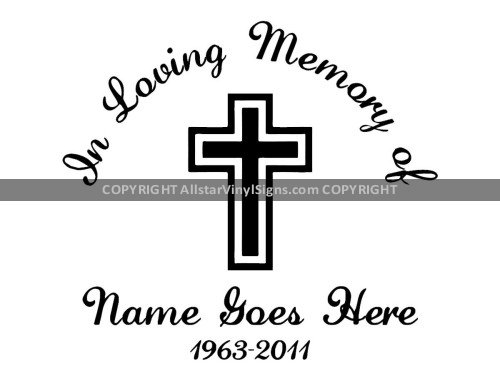 In Loving Memory - Cross - Memorial Car Stickers - Window ...