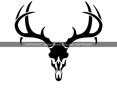 Hunting skull with antler window vinyl decal hunter outdoors sticker