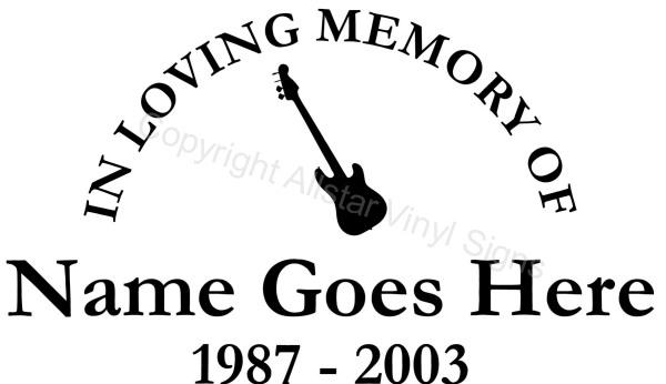 In Loving Memory Of Electric Guitar Memorial Car Stickers - Window decals in memory of
