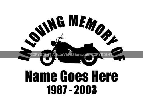 Motorcycle Memorial Vinyl Window Decals In Loving Memory