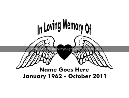 In Loving Memory Car Decals >> Heart with Angel Wings Memorial - Angel Memorial Vinyl Window Decals - In Loving Memory of Car ...
