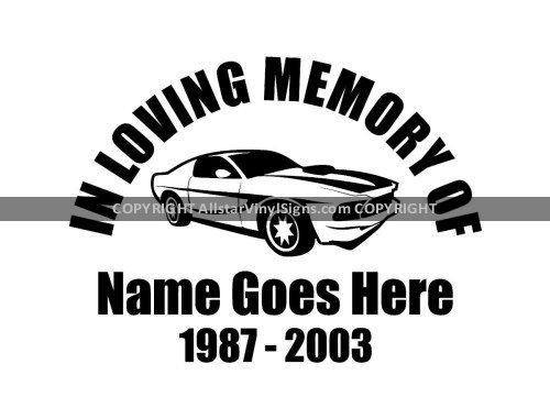 Small Muscle Car Racing Memorial Vinyl Window Decals In Loving