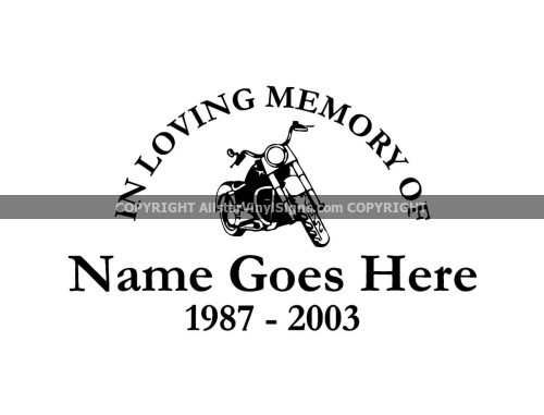 In Loving Memory Car Decals >> Motorcycle Memorial Vinyl Window Decals - In Loving Memory of Car/Truck Stickers